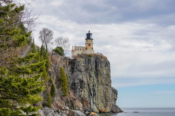 Split Rock Lighthouse with Clouds
