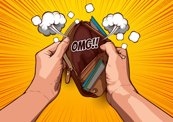 picture hand open an empty wallet on yellow background, comic cover template, speech bubbles, doodle art, Vector illustration file.