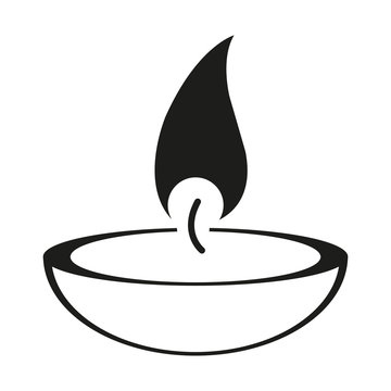 burning candle on a white background. flat icon for web sites. Vector illustration