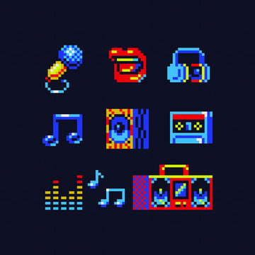 Music theme pixel art icons set. Microphone, audio cassette, headphones, tape recorder, notes and subwoofer. Isolated vector illustration. Retro video game sprite.