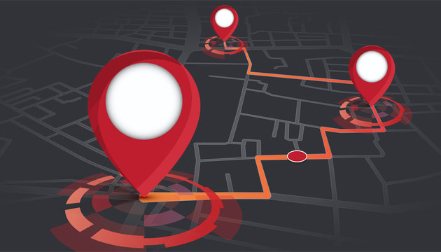 gps pins showing on street map with route tracking.vector illustration