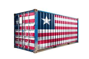 The concept of  Liberia export-import, container transporting and national delivery of goods. The transporting container with the national flag of Liberia, view front