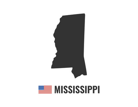 Mississippi map isolated on white background silhouette. Mississippi USA state. American flag. Vector illustration.