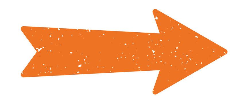 Distressed Arrow | Vintage Orange Pointer | Retro Directions