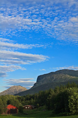 Most beautiful landscape with Norwegian, red farmhouse in Hemsedal, Buskerud, Norway.