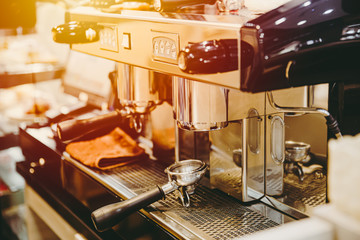 coffee machine or espresso machine vintage tone cafe art decoration