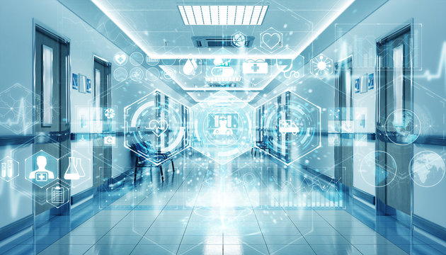Hospital blue corridor with digital medical infographics and charts 3D rendering