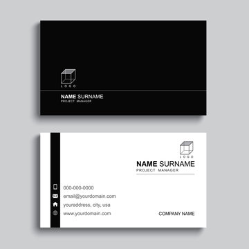 Minimal business card print template design. Black color and simple clean layout.