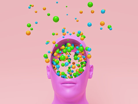 Concept art of colorful creative Imagination. pink head with a round hole and many multicolored balls. 3d rendering