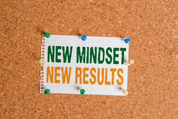 Writing note showing New Mindset New Results. Business concept for obstacles are opportunities to reach achievement Corkboard size paper thumbtack sheet billboard notice board