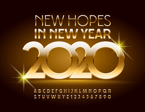 Vector luxury Greeting Card New Hopes in New Year 2020. Chic Alphabet Letters and Numbers. Elite Golden Font.