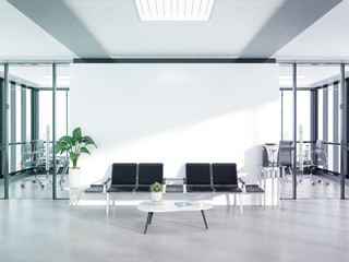 Fototapeta Blank white wall in concrete waiting room with large windows Mockup 3D rendering obraz