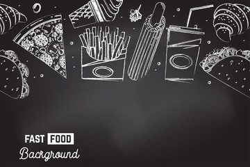 Seamless pattern with american fast food. Fast food background. Vector. Ice cream, soda, croissant, hot dog, mexican taco and pizza drawing on the chalkboard