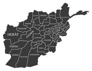Afghanistan map with provinces and labels black
