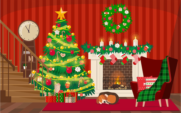 Vector illustration of a decorated Christmas living room with a Christmas tree and a sleeping dog by the fireplace.