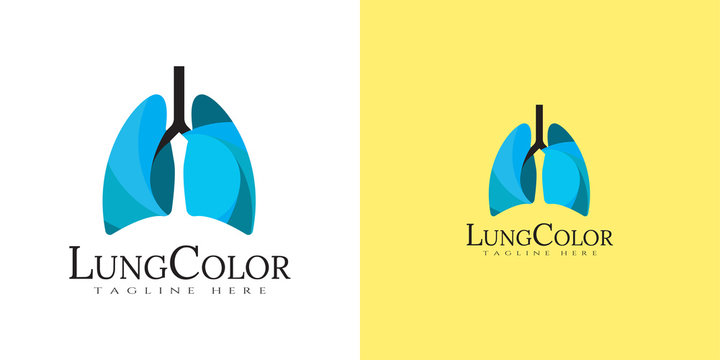 Human lung logo with line art design. healthy respiratory system, healthcare and medical icon for apps or website