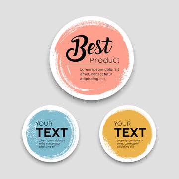 Colorful label paper circle brush stroke best products style collections, vector illustration