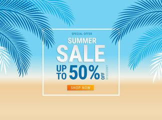 Summer sale card with coconut leaf on the beach background. Vector illustration