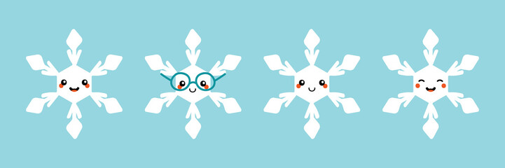 Set, collection of cute cartoon smiling snowflakes characters for winter and christmas design.