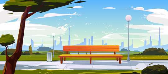Bench in park, summer time landscape with city view background, empty public place for walking and recreation with green trees, litter bins and street lamps. Urban garden Cartoon vector illustration Fotomurales