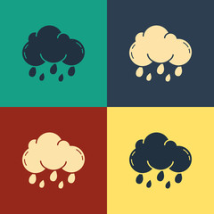 Color Cloud with rain icon isolated on color background. Rain cloud precipitation with rain drops. Vintage style drawing. Vector Illustration
