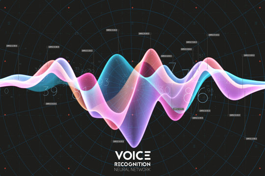 Vector echo audio wavefrom. Abstract music waves oscillation. Futuristic sound wave visualization. Synthetic music technology sample. Voice recognition. Digital sound analysis. Speech to text.