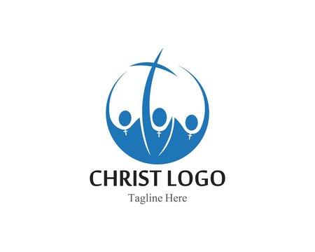 Christ logo or icon template simple creative design