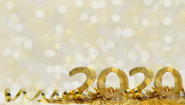 2020 golden figures in glitter and ribbon on abstract blur light background