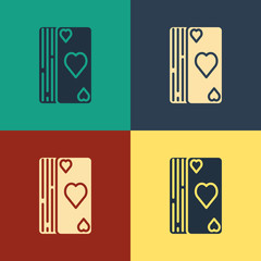 Color Deck of playing cards icon isolated on color background. Casino gambling. Vintage style drawing. Vector Illustration