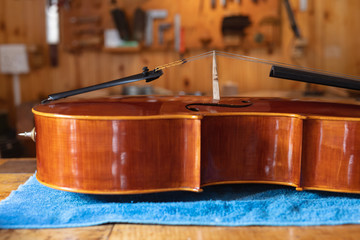 Cello in a workshop