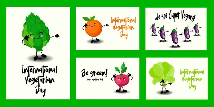 RGBSet of greeting cards for World Vegetarian Day and Vegan. Cute vegetables characters and funny lettering..
