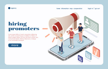 Hiring Promoters Isometric Landing Page