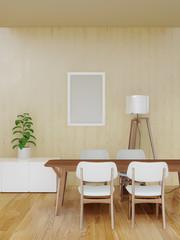 Deurstickers Boho Stijl working room with wooden wall modern minimal interior, 3d rendering