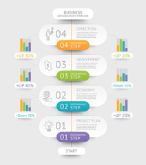 Business infographics template. Can be used for workflow layout, diagram, number options, web design and timeline.