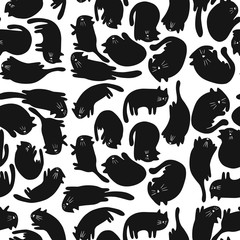 Seamless pattern with cats in different poses in a naive style. Vector illustration