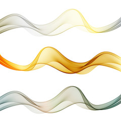 Colored waves of metallic shades. Vector wave flow. Set.eps10