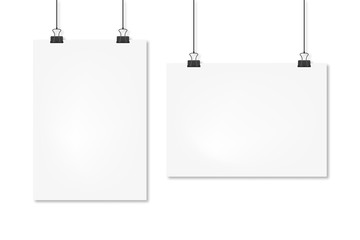 sheets a4 hanging mockup set, vector isolated