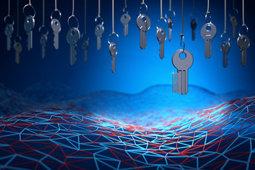 Searching of key to success, access concept, many metal keys hanging on the ropes above neural network mesh on a blue background