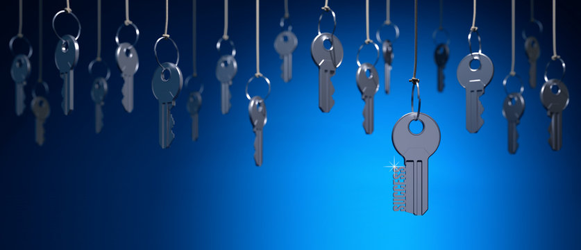 Searching of key to success, access concept, many metal keys hanging on the ropes on a blue background