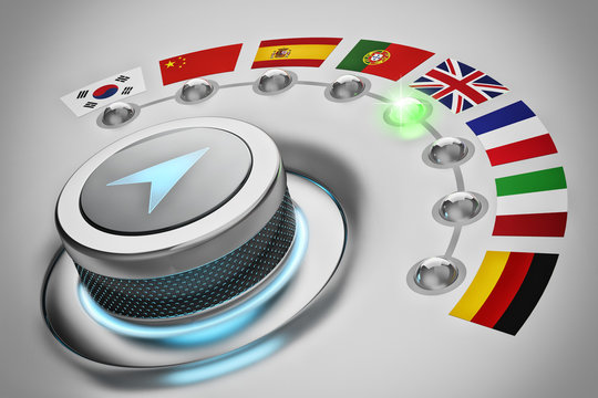 Foreign languages translation concept, online translator, multi-language switch selector with flags of the world countries