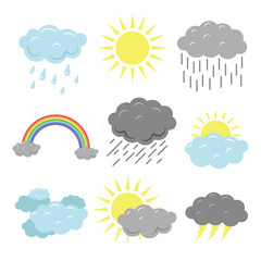 Cute autumn weather set in flat style. Rainbow, sun, cloud, thunderstorm, rain