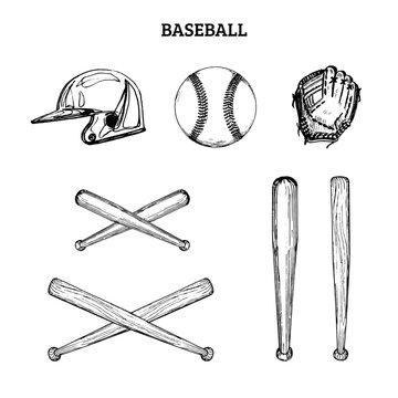 Vector illustration of baseball equipment. Set of drawn sporting goods on a white background.