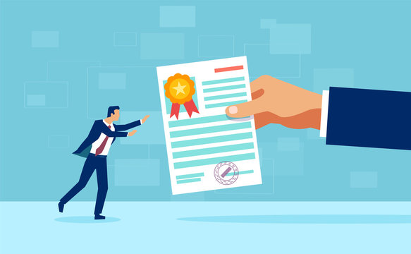 Vector of a business man receiving a course certificate diploma