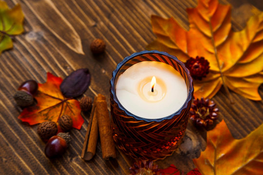 Fall spices scented candle , autumn decoration