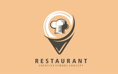 Restaurant location mark icon symbol. Find nearest good restaurant with excellent food. Inn on map  position sign. Discovery good cuisine without wandering.