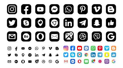 Facebook, twitter, instagram, youtube, snapchat, pinterest, whatsap, linkedin, periscope, vimeo - Collection of popular social media logo. Editorial vector. Vinnitsa, Ukraine - September 13, 2019