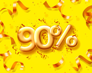 Sale 90 off ballon number on the yellow background.