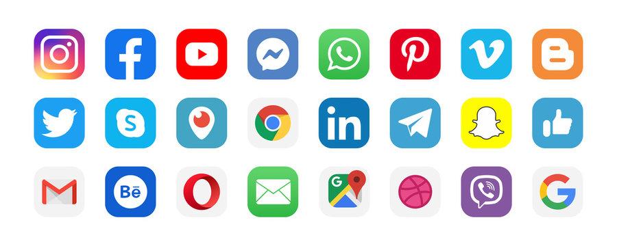 Facebook, twitter, instagram, youtube, snapchat, pinterest, whatsap, linkedin, viber, vimeo - Collection of popular social media logo. Editorial illustration. Vinnitsa, Ukraine - September 13, 2019