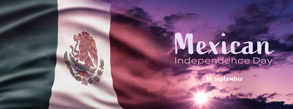 Mexican National Holiday. Mexican Flag background with national colors. Cloudy blue hour sky. Text: Mexican Independence Day