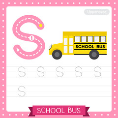 Letter S uppercase tracing practice worksheet. School Bus